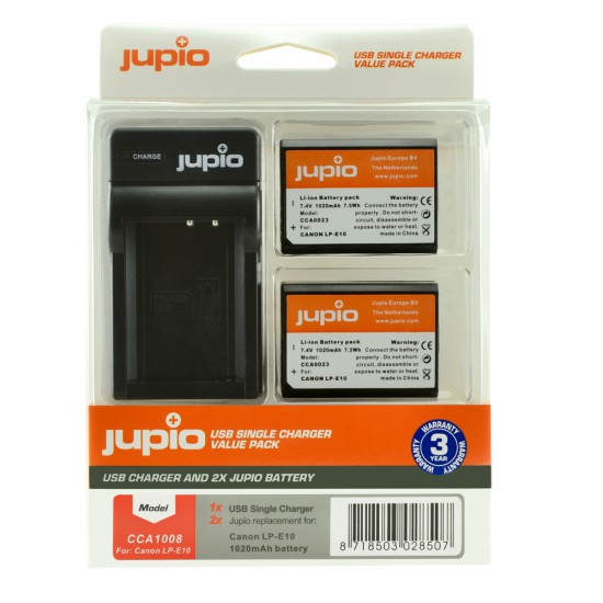 Jupio Canon LP-E10 (x2) + USB Single Charger