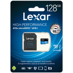 Lexar 128GB 633x UHS-I microSDXC Memory Card with SD Adapter